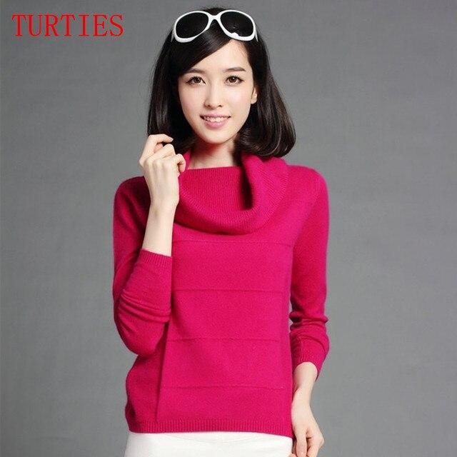 New winter Big Turtleneck pure Cashmere Sweater Women Wild Slim Sweater Knit Pullover Soft pure Cashmere