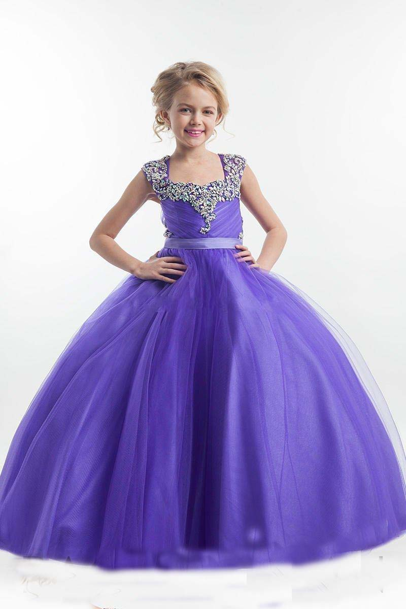 Ball Gown Purple Flower Girl Dress Square Neckline Sparkly Crystals Beaded Tulle Floor Length Open Back Mother Daughter Dresses ball gown sky blue open back with long train ruffles tiered crystals flower girl dress party birthday evening party pageant gown