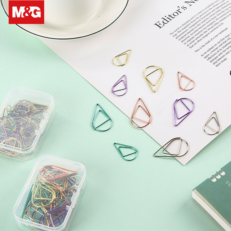 Colorful Metal Drop Shape Paper Clip 30/50Pcs Funny Kawaii Bookmark Memo Clips Marking Clips Office Binding Supplies ABSN2662