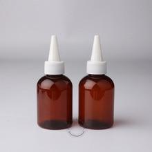 Shipping-10pcs/лот Высокое качество 100 мл янтарные пластиковые бутылочки для косметических средств 100cc пустая пластиковая бутылка с белая крышка