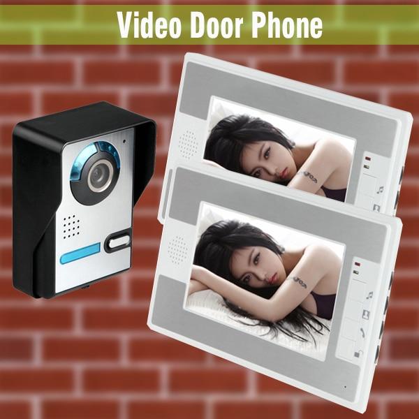 Video Door Phone Intercom System 7 Inch LCD Monitor Wired Video Intercom Doorbell Night Vision Camera Kit Home Video Intercom