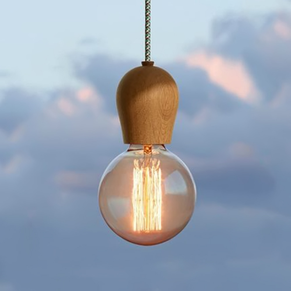 Details about e27 type plug in hanging pendant light fixture lamp bulb - Vintage Pendant Light Oak Wood Retro Lamp 100cm Color Wire E27 Socket Wood Lampholder Hanging Light