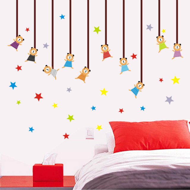 The Kindergarten Children Room Decorates Wall Stickers Pvc Wallpaper Cartoon Lovely For Kids Rooms Home Decor