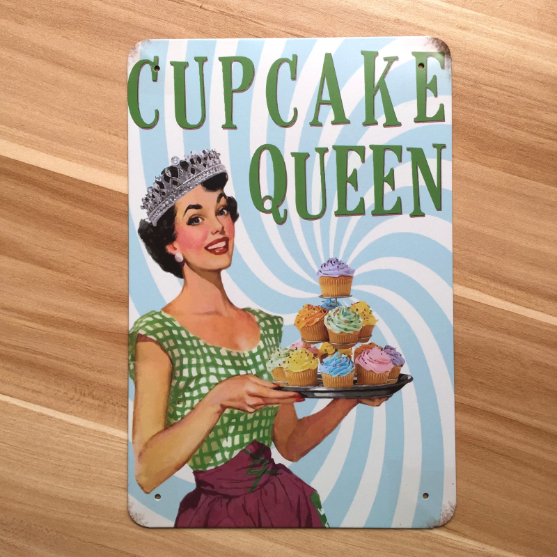 Direct selling RZXD-489 CUPCAKE QUEEN Metal tin signs Vintage home decor Office Restaurant Bar Metal Painting art 20x30 CM
