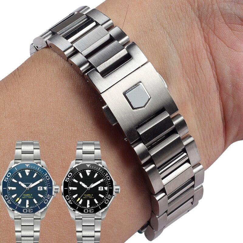 Bracelets de montre en acier inoxydable massif de haute qualité pour bandes d'étiquettes Heuer CARRERA AQUARACER bracelet de montre en métal pour hommes 22 MM