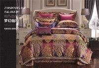 Luxury Purple Satin Cotton Duvet cover set Wedding Royal designer queen king Bedding set Bed sheet/spread set Pillowcases