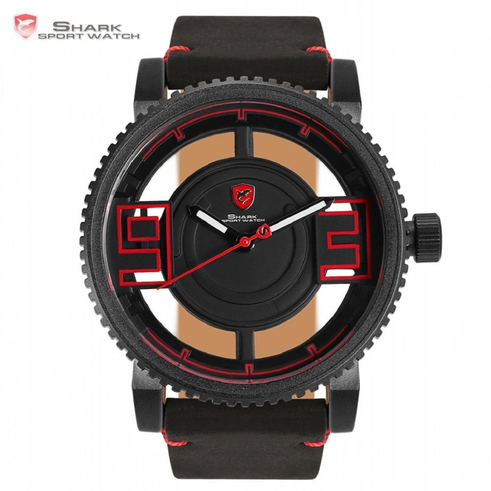 Megamouth акула спортивные часы черный, красный 3D Специальный прозрачный Дизайнер Открытый Топ брендовые кожаные наручные кварцевые мужские ча...