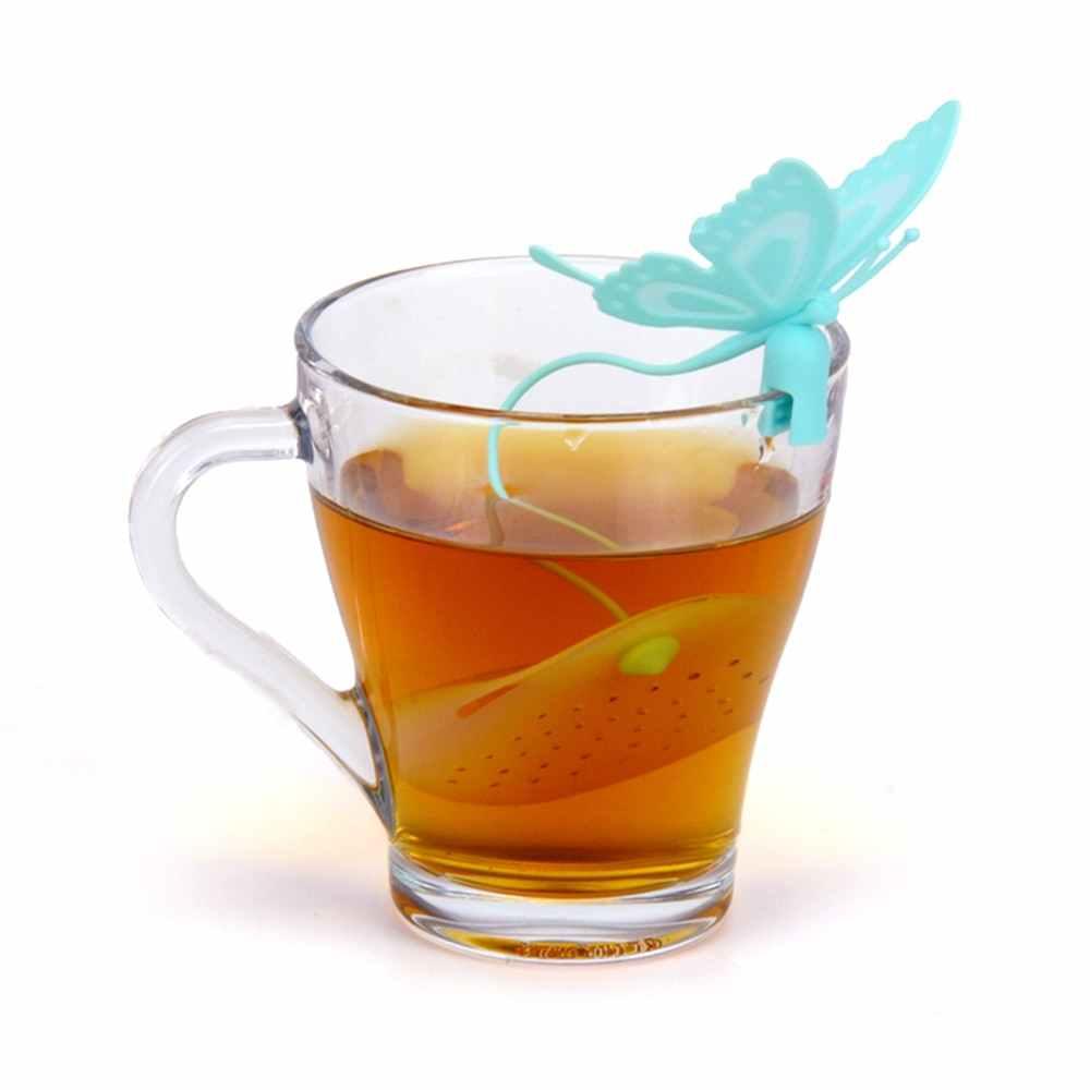 Infusor de té de silicona hermosa y linda forma de Animal fácil de usar y limpiar inocuo a la herramienta de filtro de especias de hierbas humanas color al azar