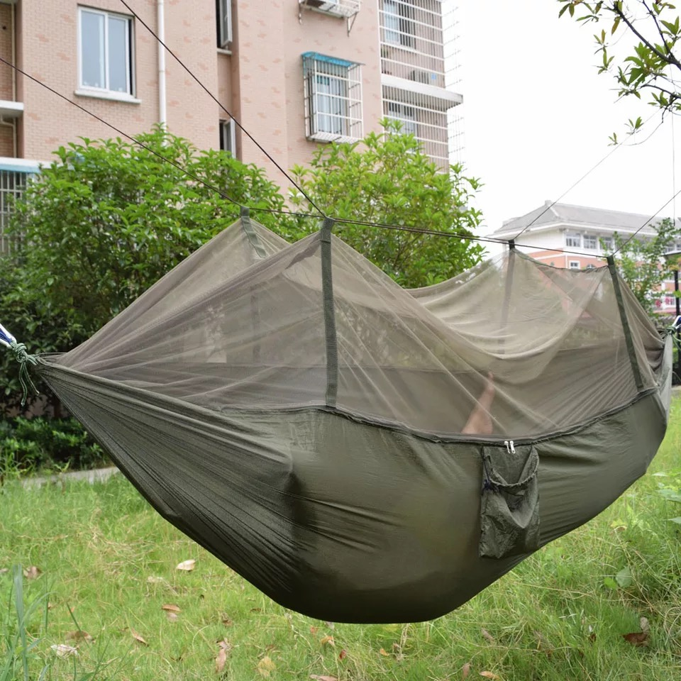 New outdoor parachute cloth widened dual-purpose high-strength nylon high-powered hammock with mosquito netNew outdoor parachute cloth widened dual-purpose high-strength nylon high-powered hammock with mosquito net