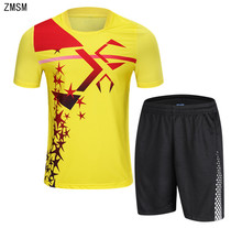ZMSM 2018 Short Mens Tennis Shirts Shorts Set Badminton Table Tennis Jersey football running Gym Breathable Sport Clothes B003