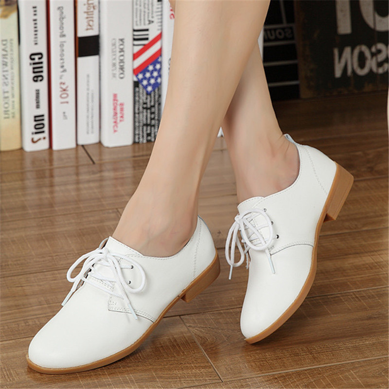 ZOQI 2018 British Style Oxfords Shoes For Women Flats Lace-Up Genuine Leather Round Toe Casual Ladies Shoes 6 Color Sneakers цена