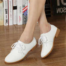 ZOQI 2018 British Style Oxfords Shoes For Women Flats Lace-Up Genuine Leather Round Toe Casual Ladies Shoes 6 Color Sneakers
