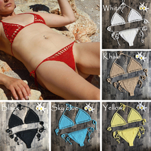 Womens Sexy Micro Bikini Crochet Cotton Thong G String Lingerie Triangle Top Bra Solid Bottom Beach Swimwear