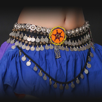 Professional Unisex Tribal Belly Dance Waist Belt 80/90cm Adjustable Fit Antique Bronze Beads Metal Chain Gypsy Coin Belt Silver