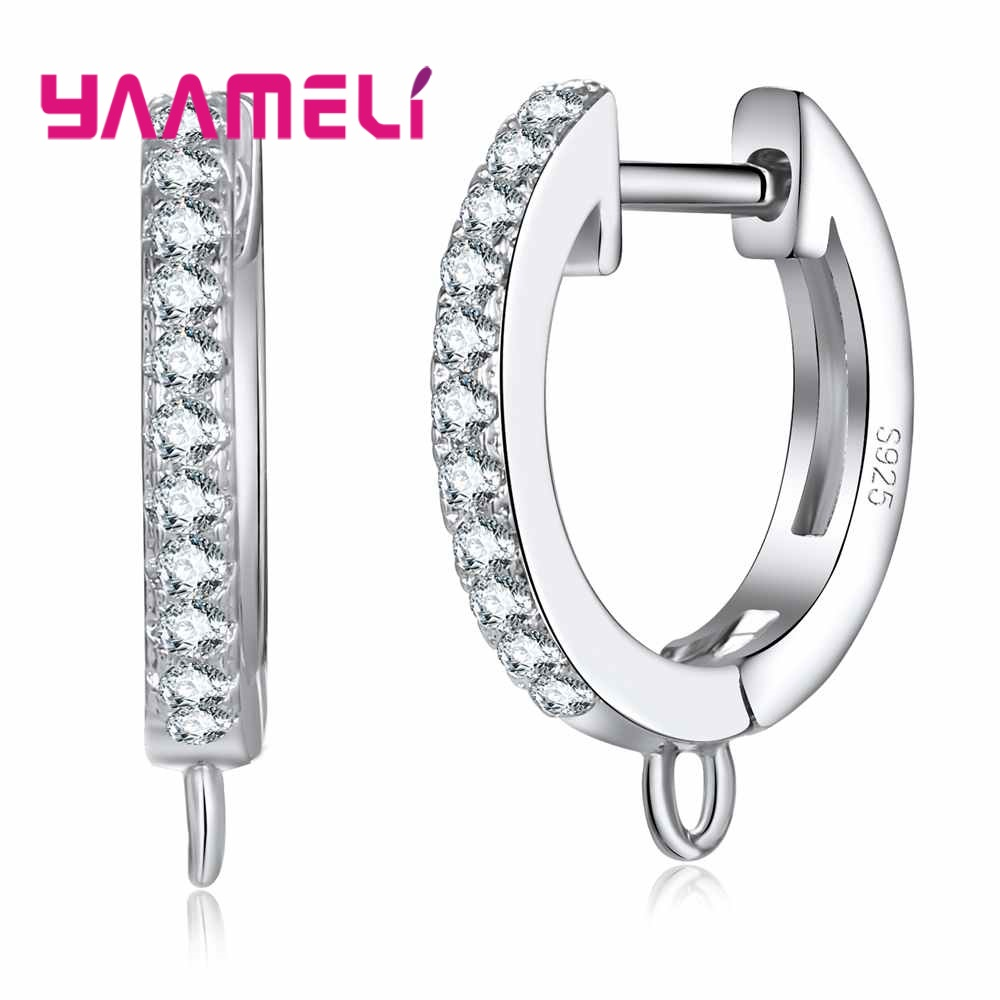YAAMELI Sparkling Cubic Zircon Earring Jewelry Findings Components 925 Sterling Silver Making Accessory Hoop Earrings Connectors