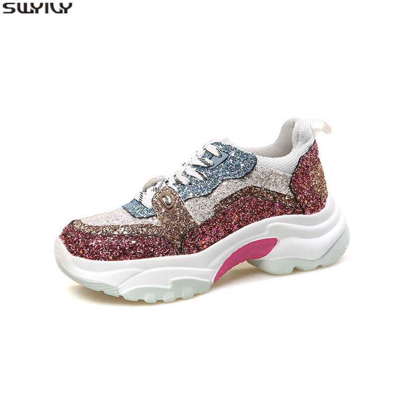 SWYIVY plate-forme baskets femmes chaussures décontractées femmes baskets 2019 automne Chaussure Femme Sequin chaussures à semelles compensées pour femmes dames Sh