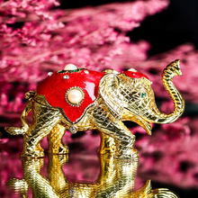 Vintage Metal  Elephant Figurine Jewelry Trinket Box