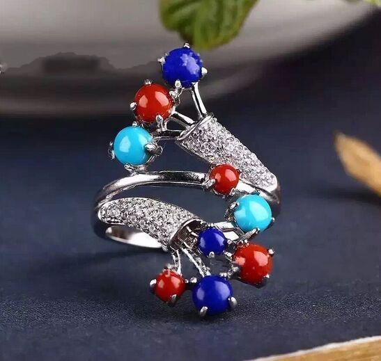 Thai silver ring S925 silver inlaid lapis lazuli jewelry craft antique female oval style atmosphere s925 silver antique style men open world peace ring