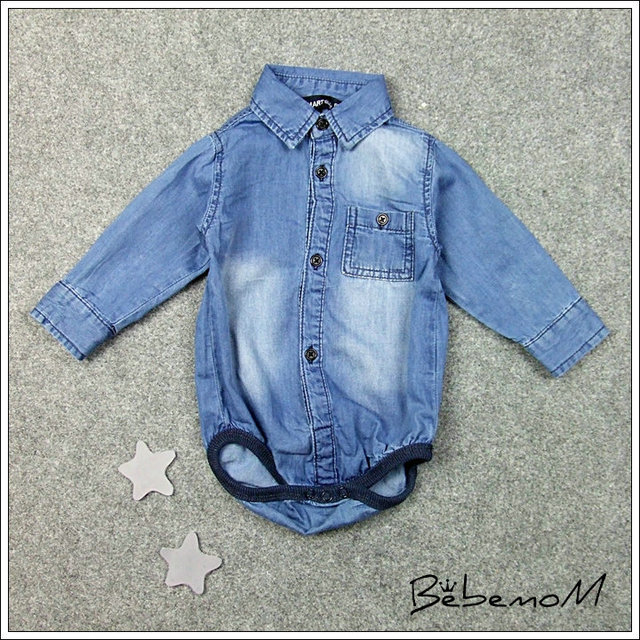 Children's Wear Undertakes Infant Child Cowboy Shirt Triangle Clothing Baby Jeans Denim Shirt vestidos mujer Romper rosherun
