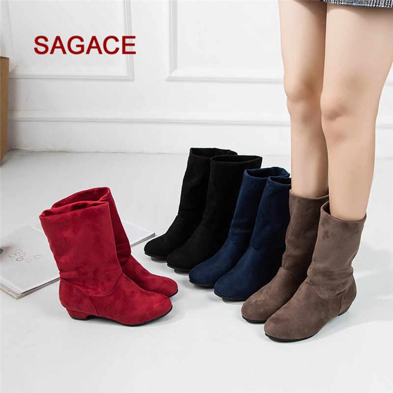 4xColor kadın süet kare topuk yuvarlak ayak orta tüp saf renk Slip-On Boots