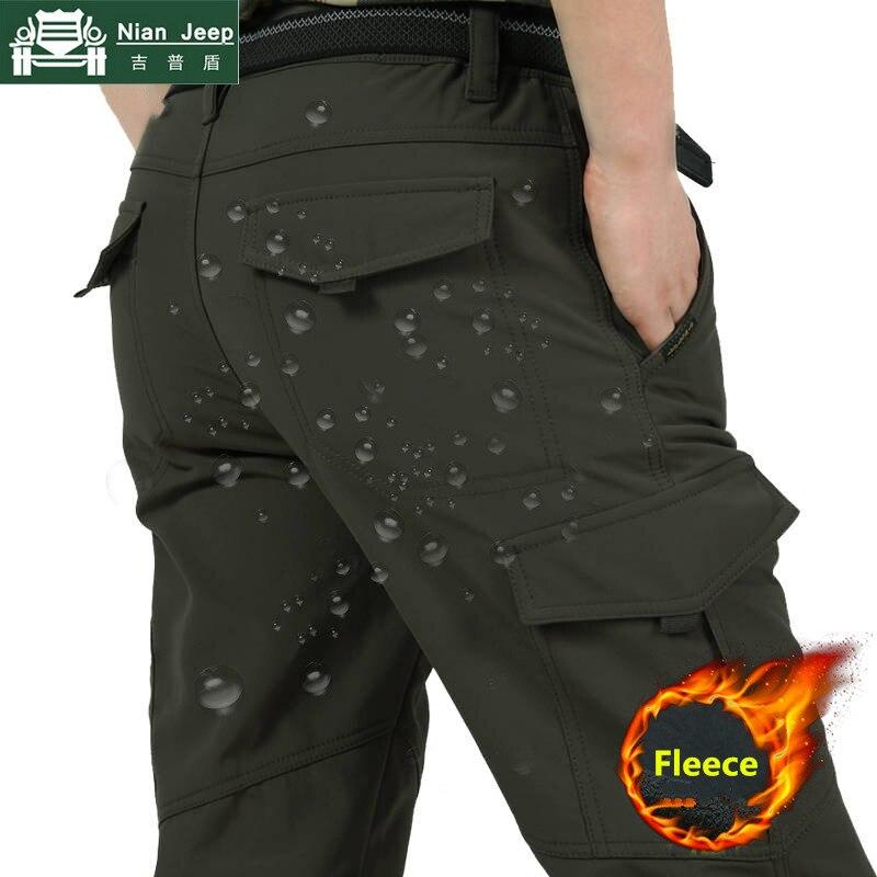 Winter Thick Warm Cargo Pants Men Fashion Fleece Multi-pocket Long Trousers Waterproof Warm Jogeer Pants Male Plus Size M-4XL