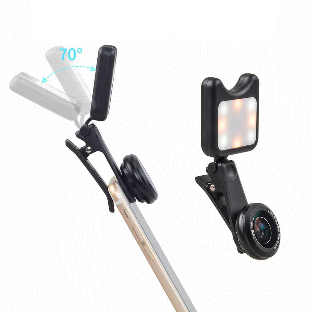 APEXEL Led ملء ضوء Selfie مصباح زاوية واسعة + ماكرو عدسة كاميرا الهاتف مع كابل يو اس بي ل فون x 7 8 هواوي P10 P20 samsung s9