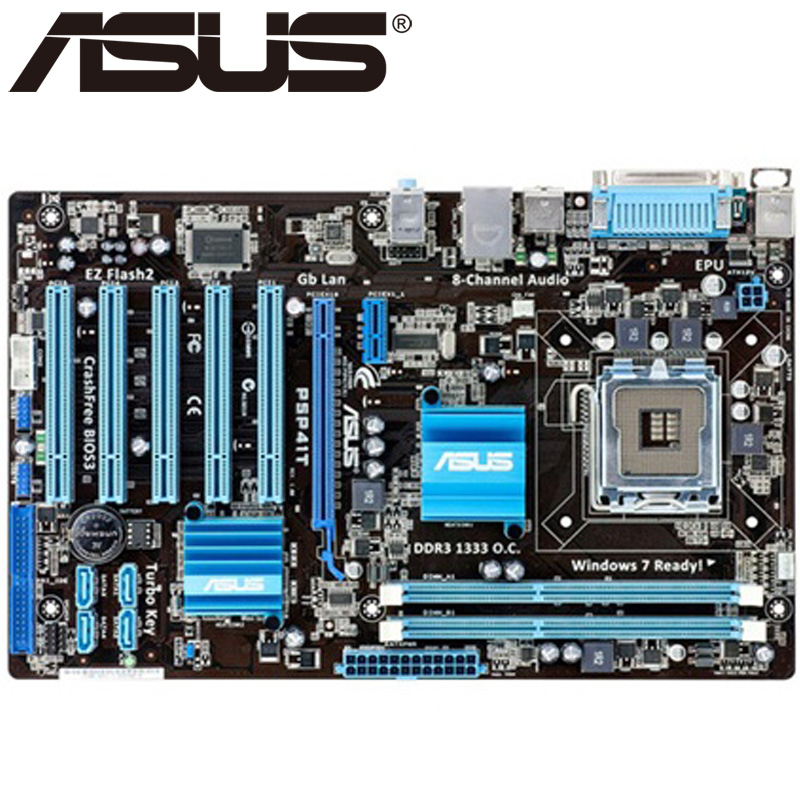 Asus P5P41T Desktop Motherboard G41 Socket LGA 775 Q8200 Q8300 DDR3 8G ATX UEFI BIOS Original Used Mainboard On Sale asus p8z77 m desktop motherboard z77 socket lga 1155 i3 i5 i7 ddr3 32g uatx uefi bios original used mainboard on sale