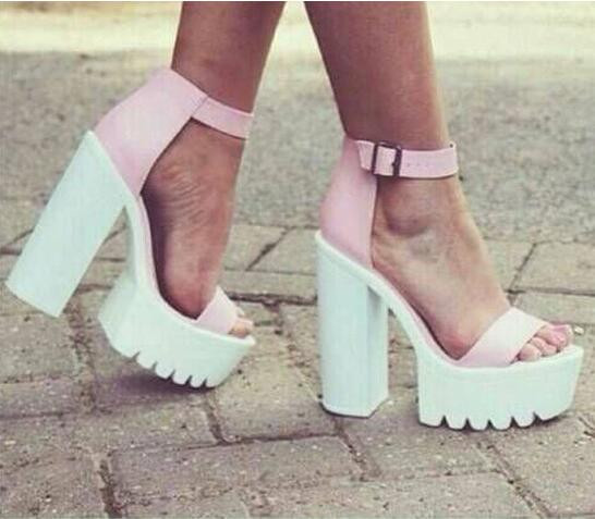Women Shoes Ankle Peep Toe High-heel Buckle Newest Real Photo Sandals Hotsale Platform Shoes Chunky Heels Black/White/Pink white black rivets women high heel sandals peep toe hollow out summer sandals real picture newest ankle buckle short boots