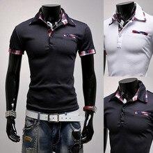 Brand New Men s Casual Striped Pocket Cuff Shirt Social Shirt Short Sleeve Turn Down Stripe