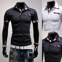 Brand New Men's Casual Striped Pocket Cuff Shirt Social Shirt Short Sleeve Turn Down Stripe Collar