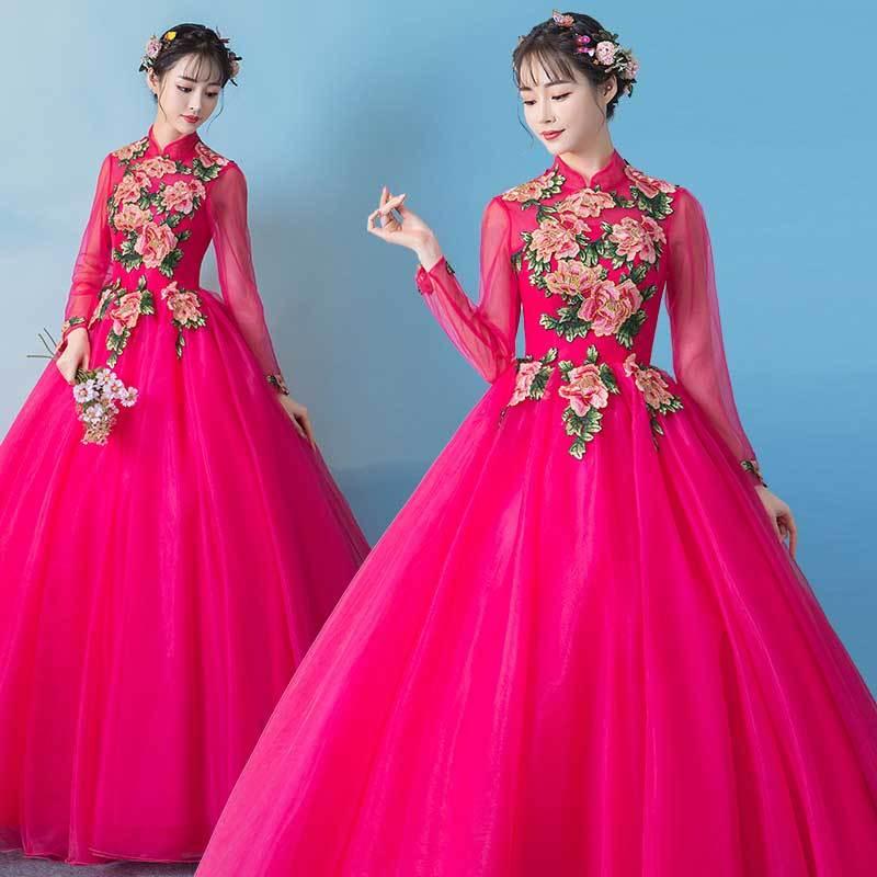 Rose broderie fleur longue médiévale Renaissance robe événement Costume victorien gothique Marie Antoinette coloniale Belle balle