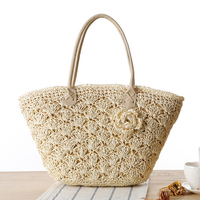 2017 Summer Beach Bag Straw Large Zipper Woven Straw Handbags Casual Big Shoulder Bag Women Flowers