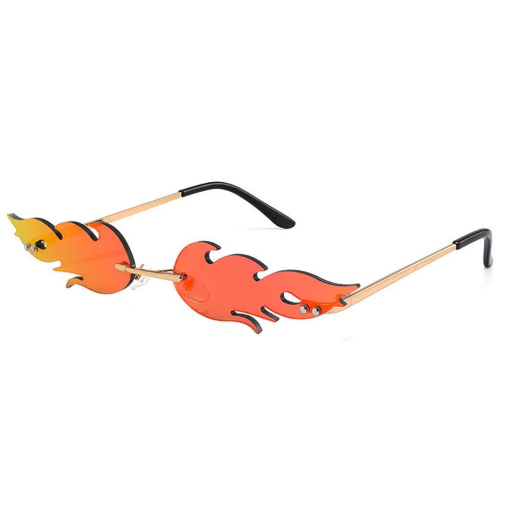 Ogień płomień okulary kobiety mężczyźni Rimless Wave okulary nowy 2019 stylowe akcesoria optyczne luksusowe trendy wąskie okulary Streetwear