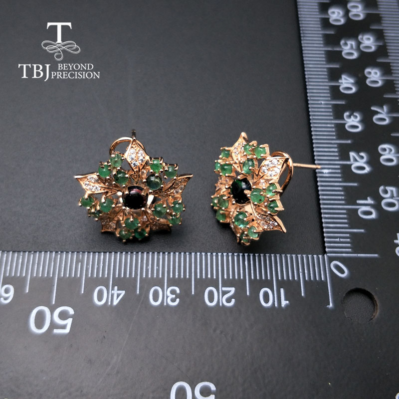 TBJ,new flower design emerald earrings natural gemstone emerald match black opal  925 sterling silver fine jewelry for women