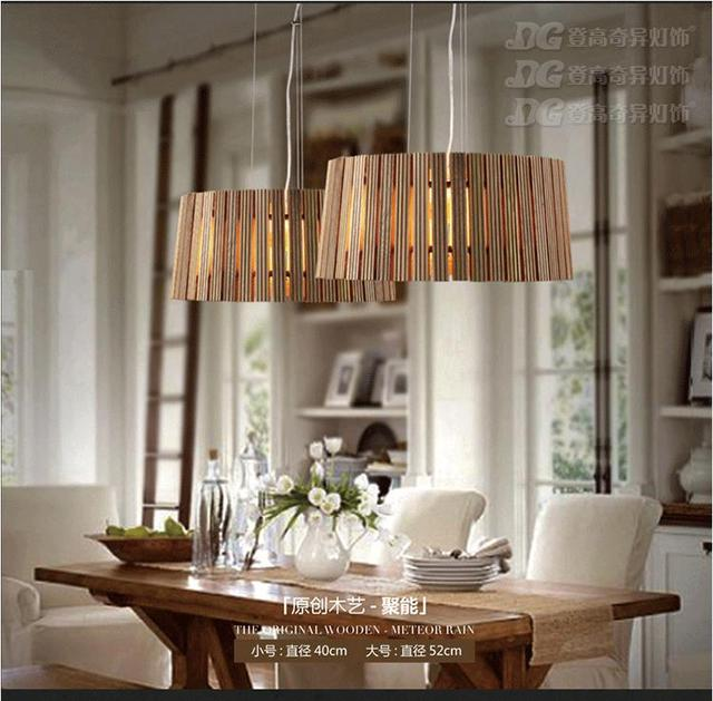 Europe Style Pop Art Solid Wooden Dining Room Chandeliers Round Wood Coffee Shop Decoration Light D400