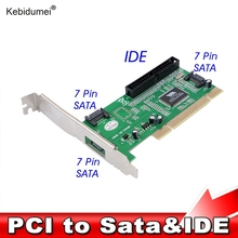 kebidumei PCI to 3 ports SATA + IDE Serial HDD ATA PCI Card Converter Adapter for PC Tablet Computer 1.5Gb/s Data Rate(China)