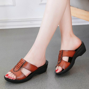 Image 4 - NEW Summer Mother Sandals Fashion Ladies Soft and Comfortable Casual Large Size Shoes Woman Slope with Slippers W04