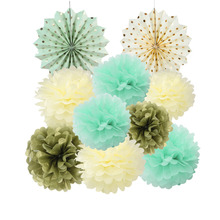 Pack Of 10 Nature Color Home Garden Party Decoration Set Tissue Paper Fans Pom Poms For Wedding Birthday Party Baby Showers