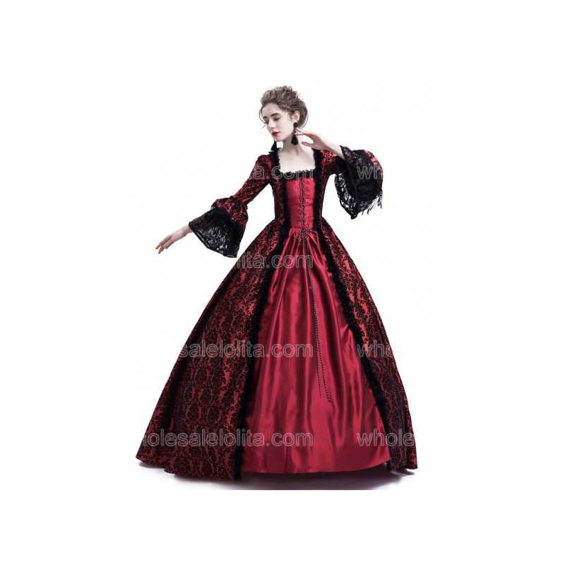 Top Red Gothic Victorian Princess Dress Ball Gown Historical Stage Costume Halloween Dress Christmas Party Dress