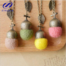 Creative Popular Forest Department Handmade Jewelry Wool Felt Oak Personality Sweater Chain Pendant Necklace D30