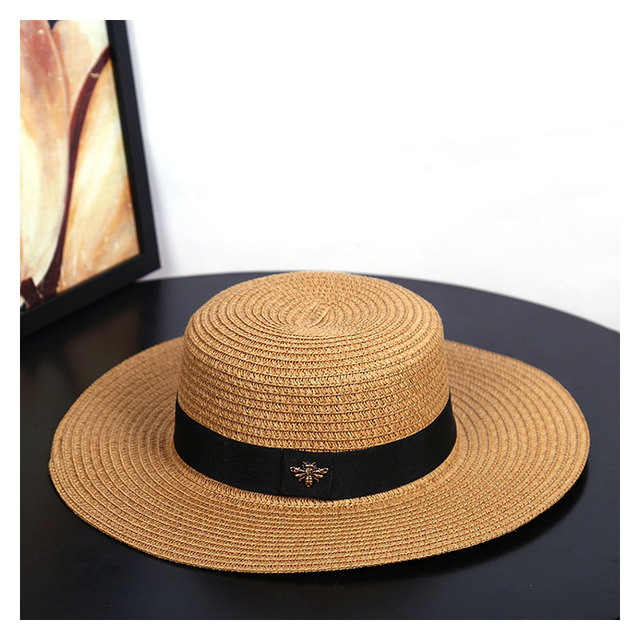 Sun Hats Small Bee Straw Hat European and American Retro Gold Braided Hat Female Loose Sunscreen Sunshade Flat Cap Visors Hats
