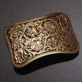 High Quality Antique Vintage/Retro Flower embossed Men's Solid  Copper Brass Belt Buckle