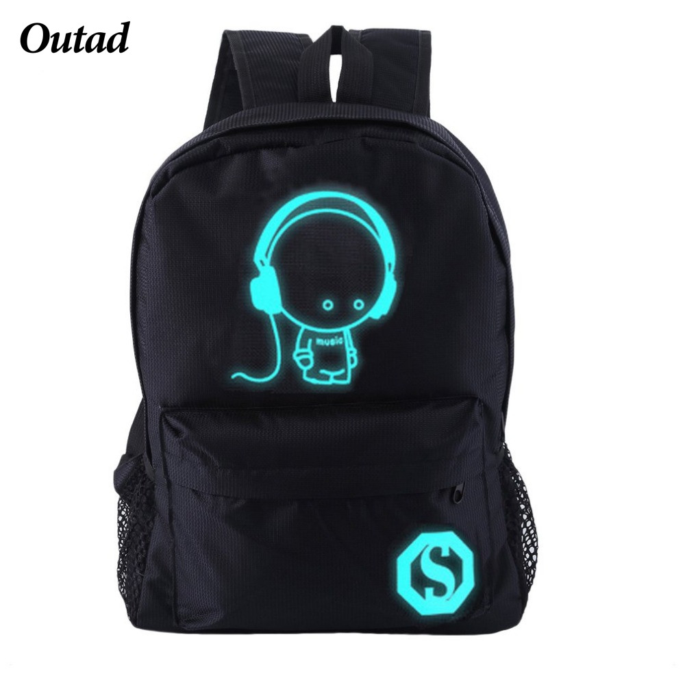 OUTAD Student Backpack For Boy&Girl Teenager From The Shoulder With Music Kid Nightlight Design Luminous Student School Bag Top