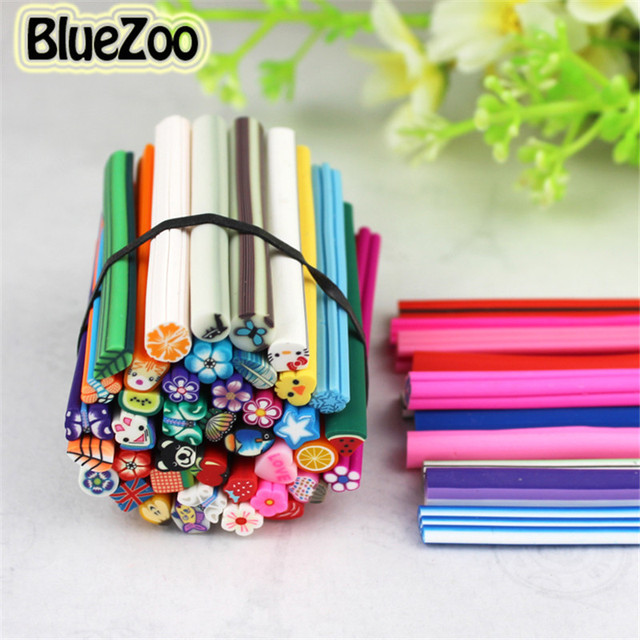 Bluezoo New 50pcs Mix Designs Polymer Clay Nail Art Canes Stickers