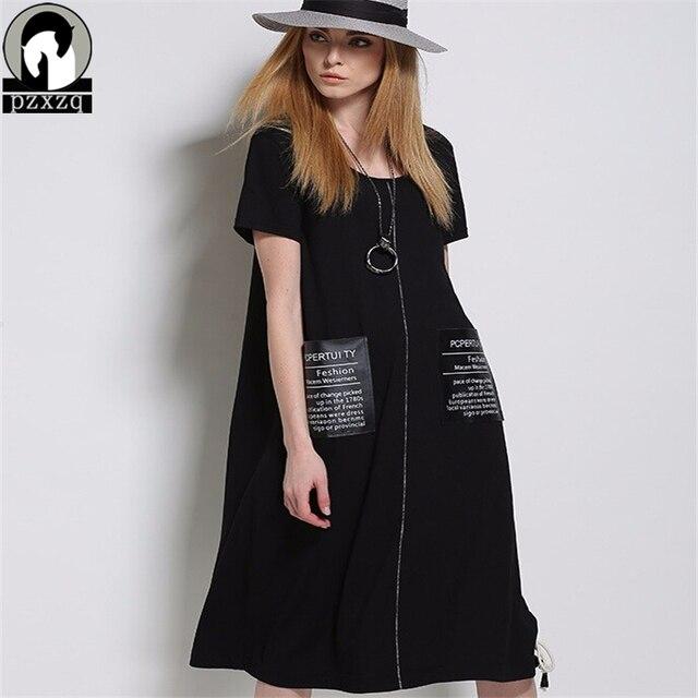 Summer dress vintage elegante europeo de las mujeres negro loose cuello redondo manga corta dresstunic wear to work party dress plus tamaño