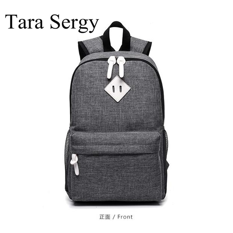 ФОТО Tara Sergy canvas Preppy school backpack with zipper Women Men Canvas Backpack Schoolbags for girl Casual Travel Laptop Bags