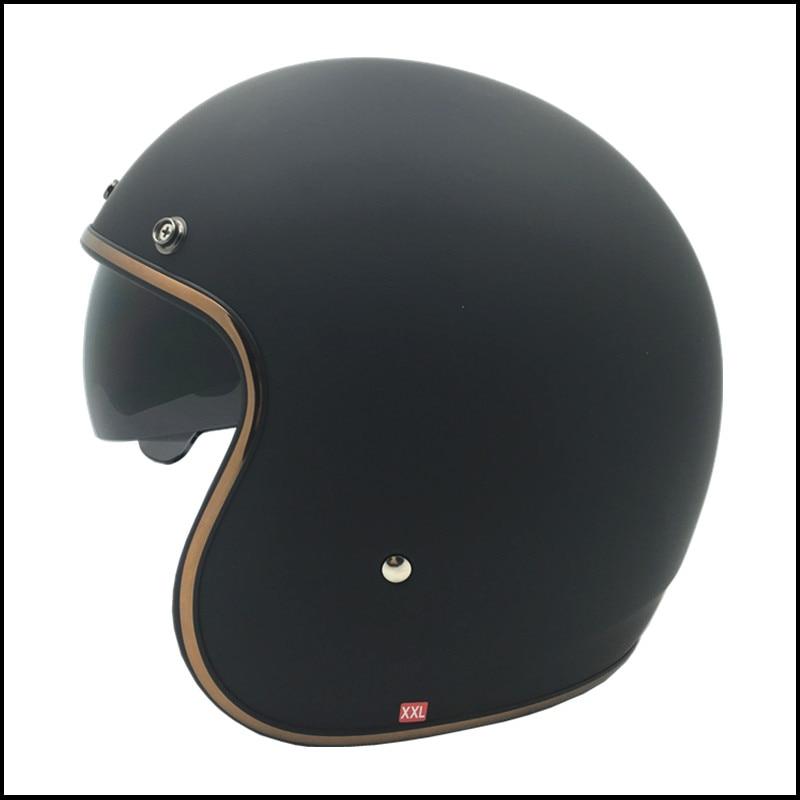 New vintage motorcycle helmet 3/4 open face retro moto helmets scooter harley helmet with inner sunny black lens DOT M L XL XXL