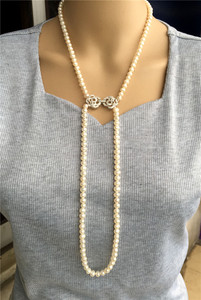 Image 4 - Ręcznie tkane 45 50 cm naturalne 7 7.5mm białe słodkowodne perły podwójny naszyjnik moda biżuteria