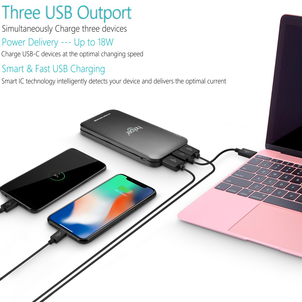 USB-C Power Bank Quick Charge 3.0 10000mAh Portable Charger Type C Input & Output External Battery Pack for IOS Android and more