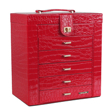 [ROWLING] NEW RED Hand Made Elegant With Handle Mirror Drawer PU Leather Jewelry Storage Box ZG231RED